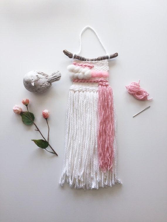 Woven Wall Weaving // MADE TO ORDER / Wall Hanging / Blush Pink Cream White  / Nursery Art / Home Decor / Boho / Wall Art /