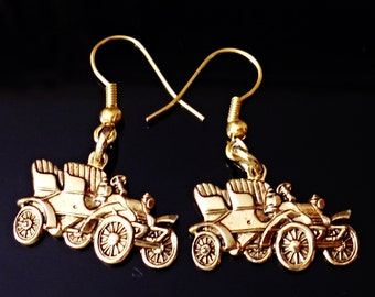 very nice BRASS Gold Plated Old Car hypoallergenic pierced  earrings /U18