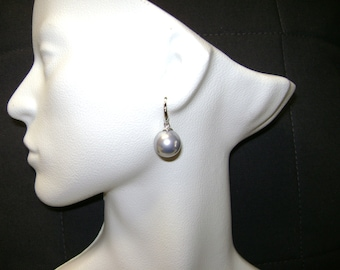 Large Gray Southsea Shell Pearl Drop Earrings