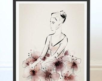 Ballerina Art. Ballerina Print. Ballet Art. Ballet Picture. Floral Print. Dance Teacher Gift. Wall Art.