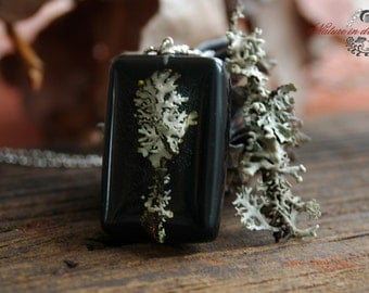 Real lichen Necklace. Pendant with real  lichen.  Forest Jewelry. Botanical jewelry. Nature Inspired. Botanical accessory