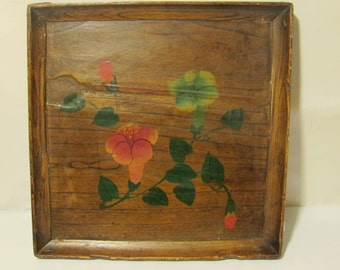 vintage Wood Plate With Flower Design