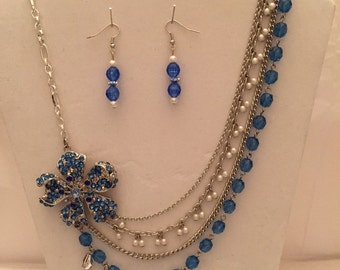Multi Strand Blue Saphire Sparkle Beaded Set/Jewelry Set