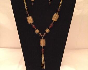 Golden Amber Lariat Tassel Jewelry Set