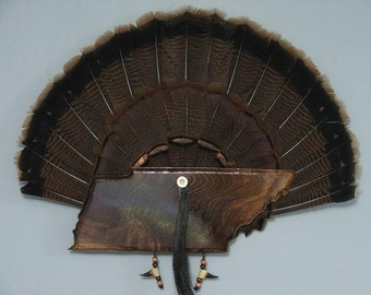 Wild Turkey Tail Fan Mount - Black Walnut - State of Tennessee
