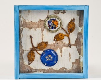Tiger and Palm Tree Bottle Cap Flower Wall Art