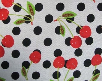 Cherry polkadot 100% cotton fabric - sewing supplies