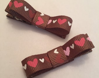 Brown with Pink Hearts Tuxedo Barrettes, Set of 2