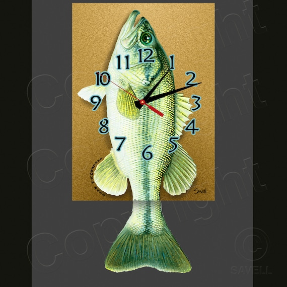 Bass Clock with Swinging Tail Pendulum • Fish Clock • Large Mouth Bass