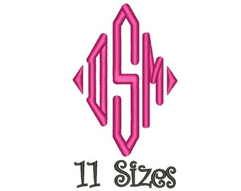 SALE** Diamond Monogram Embroidery Font 11 Sizes Machine BX Embroidery Fonts Embroidery Monogram Fonts 3 Letter Monogram - Instant Download