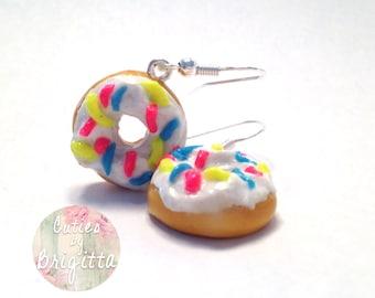 Handmade Polymer Clay Donut Earring