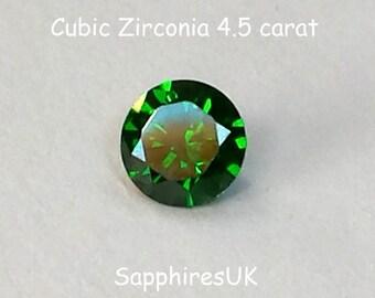 Loose CZ Gemstone/ Cubic Zirconia Green/ Cubic Zirconia Gemstone/CZ Green. 4.5 carat.  Green. Round Brilliant Cut. Ref 110