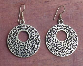 Boho Earring | Tribal Jewelry | Round Earring | Brass Plated Earring | Handmade Earring | Hook Earwire Earring | Indian Fashion Earring |E18