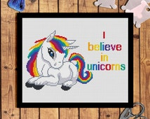 quotes cross stitch-I believe in unicorns-Rainbow Unicorn cross stitch-animals cross stitch-Unicorn scheme-counted cross stitch pattern pdf