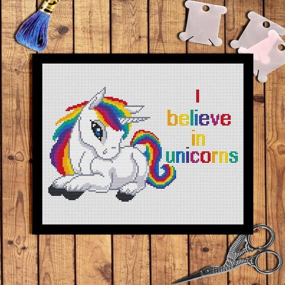 Believe In Unicorns: Quotes Cross Stitch-I Believe In Unicorns-Rainbow By