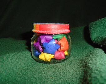 Rainbow Origami Star, Glass Jar