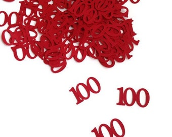 100 pieces, Happy 100th birthday table confetti, red confetti pieces ,30th, 40th, 50th, 60th, 70th, 80th, 90th, 100th, table confetti