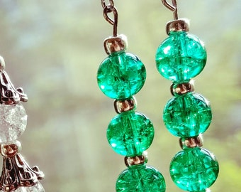 Turquoise/green glass crystal beaded earrings