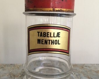 Antique French Apothecary Jar with Tole Lid