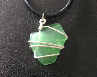 Green Beach Glass Pendant Necklace: Small Size