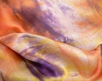 Pure Silk Satin Crepe Scarf - 'Summer Sunset' - Handmade and Hand dyed