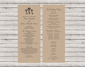 Rustic Wedding Program, Printable Wedding Program, Vintage Keys Wedding Program, Customizable Wedding Program