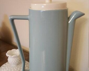 Vintage Mid Century Modern Aqua Blue Coffee Pot Tea Pot