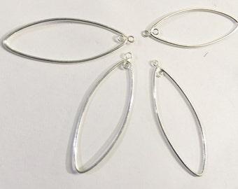 Sterling Silver Earrings Findings 4Pcs