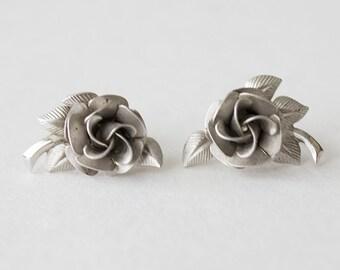 Lovely Vintage A&Z Sterling Rose Screw Back Earrings