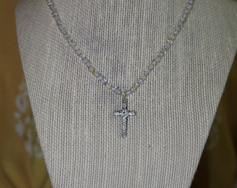 Lilac and Gold Cross Necklace