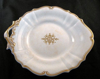 1950s White Porcelain Glazed Fruit Tray with Gold Trim