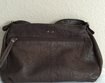 Stone Mountain brown textured leather shoulder handbag