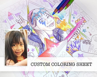 Rockstar rocker custom funny coloring sheet , children's party, giveaway, grandparents gift, portrait