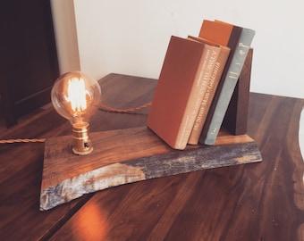 Cherry and Walnut Table Shelf Lamp