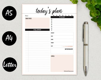 Printable Daily Planner 2017, Daily Agenda, Daily To Do Page, Daily Schedule, Organizer, Filofax A5, A4, Letter, Kikki K Large, PDF DOWNLOAD