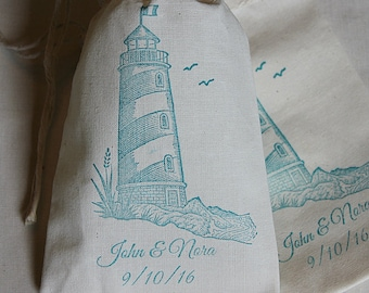 20 Wedding favors - Personalized lighthouse muslin cotton party favor bags 4x6 inch you choose ink color Great for weddings, bridal showers