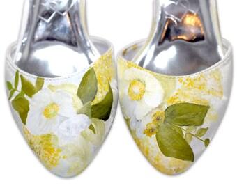Handpainted Flower Wedding Shoes