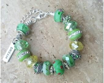 Dream, in Apple green european style charm bracelet