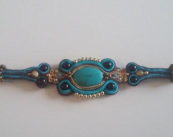 Beautiful Soutache of antique turquoise bracelet