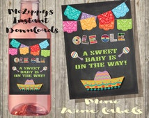 Mexican Fiesta Baby Shower 2 x 2.75 Mini Wine Labels with banner on a chalkboard background INSTANT DOWNLOAD
