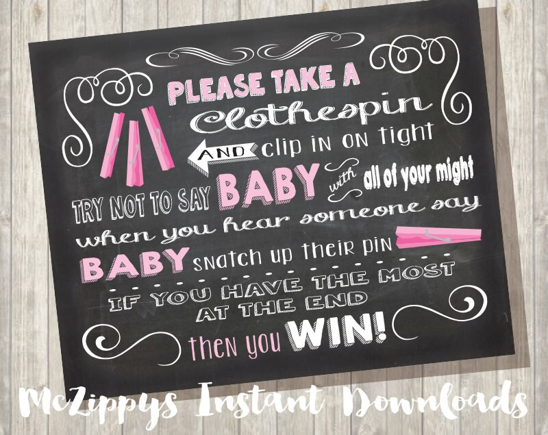 chalkboard clothespin baby shower game sign    don u0026 39 t say