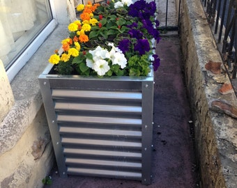 Large Handmade Corrugated Metal Planter with Metal Base Plate / Bottom