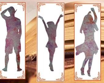 Silhouette bookmark, Watercolor Bookmarks, dancer, Instant Download Digital, Painting bookmark