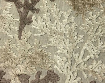 Upholstery Fabric - Reef - Driftwood - Coral Pattern Cut Velvet Upholstery, Drapery & Throw Pillow Fabric by the Yard-Available in 12 Colors
