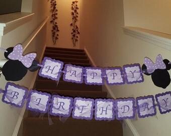Purple Minnie mouse Birthday Banner