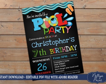 Pool Party Invitation, Pool Party Birthday Invitation, Pool Party Birthday, Self Editable PDF file, Instant Download, Boy Invitation