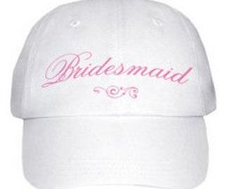 Bridesmaid Baseball Cap Hat White Pink Stitching