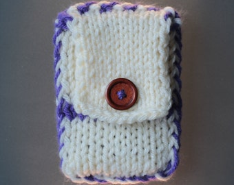 handmade iPhone 6s sleeve, purple and off-white, button, travel pouch