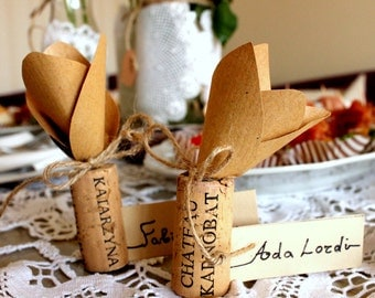 Personalized table cards with cork holders for amazing cork and lace wedding/ holders with place cards for vintage wood wine party
