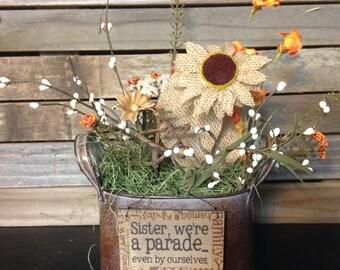 """Small primitive Floral arrangement """"Sister""""."""